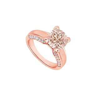 LoveBrightJewelry High Held Morganite With Diamonds At Side View On 14k Rose Gold Engagement Ring Cool Design