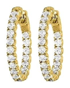 LoveBrightJewelry Inside Out Diamond Hoop Earrings in 14K Yellow Gold 0.5 CT TDW