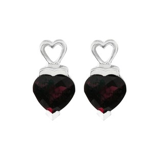 LoveBrightJewelry January Birthstone Garnet Heart Shaped Stud Earrings In Sterling Silver