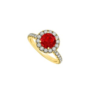 LoveBrightJewelry July Birthstone Ruby And Cubic Zirconia Halo Engagement Ring In 18k Yellow Gold Vermeil
