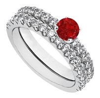 LoveBrightJewelry July Birthstone Ruby and CZ Engagement Ring with Sterling Silver Wedding Band Set 1.50 CT TGW