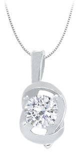 LoveBrightJewelry Knot pendant in Sterling Silver with April Birthstone Cubic Zirconia 0.50 CT TGW