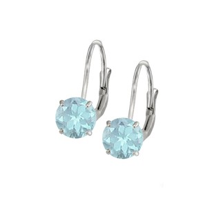 LoveBrightJewelry Leverback Earrings in 14K White Gold with Aquamarine Gemstone