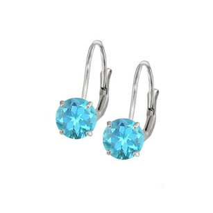 LoveBrightJewelry Leverback Earrings In 14k White Gold With Blue Topaz Gemstone 2.00 Ct Tgw Perfect Jewelry Gift
