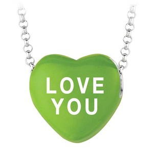 LoveBrightJewelry Love You Green Heart Pendant Necklace Sweethearts Collection Valentine Day