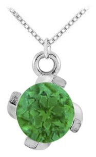 LoveBrightJewelry May birthstone Created Emerald Pendant in 925 Sterling Silver 1.00 CT TGW