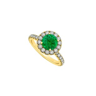 LoveBrightJewelry May Birthstone Emerald And Cubic Zirconia Halo Engagement Ring In 18k Yellow Gold Vermeil