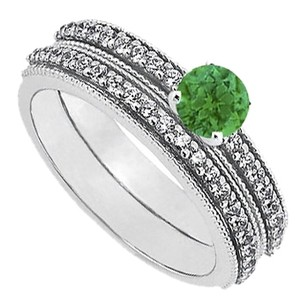 LoveBrightJewelry May Birthstone Emerald and CZ Engagement Rings with Wedding Band Set in Sterling Silver 1 CT TGW