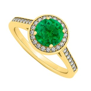 LoveBrightJewelry May Birthstone Emerald And Diamond Halo Engagement Ring In 14k Yellow Gold Precious Gift