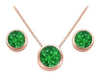 LoveBrightJewelry May Birthstone Emerald Pendant and Stud Earrings Set in 14K Rose Gold Vermeil