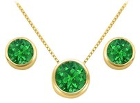 LoveBrightJewelry May Birthstone Emerald Pendant and Stud Earrings Set in 18K Yellow Gold Vermeil