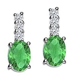 LoveBrightJewelry May Birthstone Oval Emerald with CZ Earrings in 925 Sterling Silver