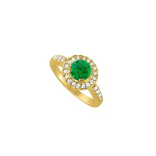 LoveBrightJewelry May Emerald And Cubic Zirconia April Birthstone Halo Engagement Ring 18k Yellow Gold Vermeil