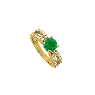 LoveBrightJewelry May Emerald Split Shank Engagement Ring With Cubic Zirconia 18k Yellow Gold Vermeil
