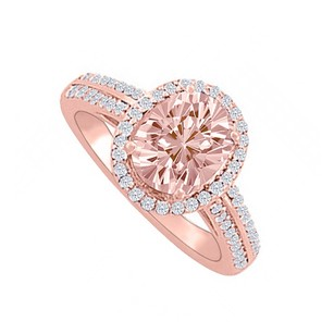 LoveBrightJewelry Morganite And Diamonds Halo Rose Gold Engagement Ring