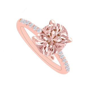 LoveBrightJewelry Morganite And Diamonds Rose Gold Simple Engagement Ring