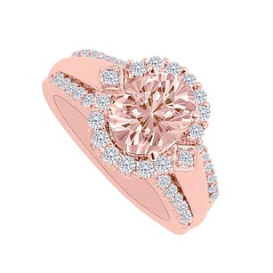 LoveBrightJewelry Morganite Cubic Zirconia Rose Gold Halo Engagement Ring