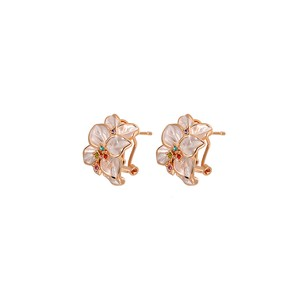 LoveBrightJewelry Multi Color Gem Rose Gold Vermeil Flower Clip Earrings