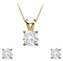 LoveBrightJewelry Natural Diamond Earrings Pendant Set in 14K Yellow Gold
