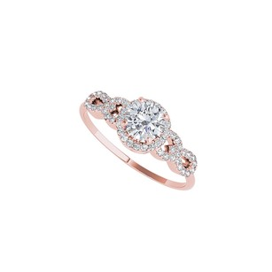 LoveBrightJewelry Natural Diamond Halo Engagement Ring In 14k Rose Gold