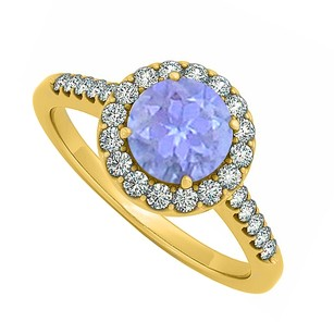 LoveBrightJewelry Newest Tanzanite December And Cubic Zirconia April Birthstone Halo Engagement Ring