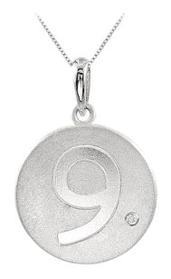 LoveBrightJewelry Numeric 9 Engraved with Single CZ Disc Pendant in Rhodium Plating 925 Sterling Silver
