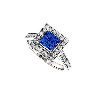 LoveBrightJewelry One and Half Carat Sapphire CZ Halo Square Ring Silver