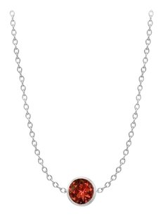 LoveBrightJewelry One Yard Necklace in 14K White Gold Cable Chain with Two Carat Garnet
