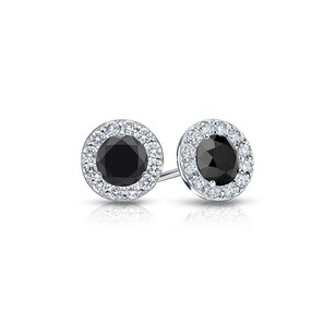 LoveBrightJewelry Onyx and CZ Halo Stud Earrings in 14K White Gold 1.00.ct.tw