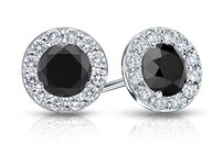 LoveBrightJewelry Onyx And Cz Halo Stud Earrings In Sterling Silver 1.50.ct.tw