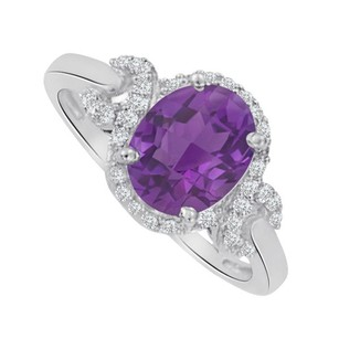 LoveBrightJewelry Oval Amethyst And Cz Halo Twist Ring 1.75 Ct Tgw