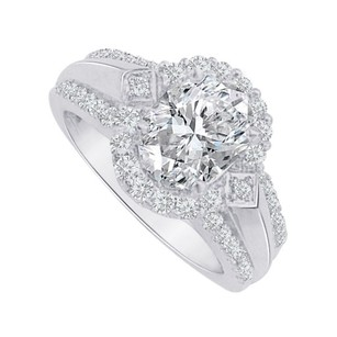 LoveBrightJewelry Oval Cz Halo Engagement Ring Sterling Silver 2 Ct Tgw
