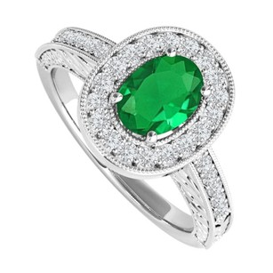 LoveBrightJewelry Oval Emerald And Cz Engagement Ring Sterling Silver