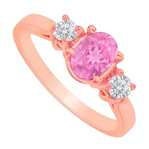LoveBrightJewelry Oval Pink Sapphire And Two Czs Rose Gold Vermeil Ring