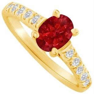 LoveBrightJewelry Oval Ruby Cz Accent Ring In 18k Yellow Gold Vermeil