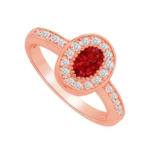 LoveBrightJewelry Oval Ruby Cz Stunning Engagement Ring For Lady Love