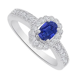 LoveBrightJewelry Oval Sapphire and CZ Halo Ring in 925 Sterling Silver