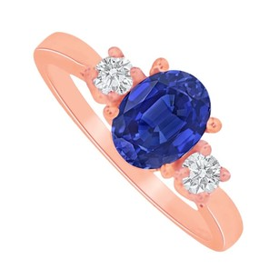 LoveBrightJewelry Oval Sapphire And Cz Three Stone Rose Gold Vermeil Ring