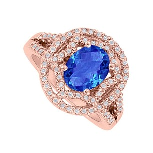 LoveBrightJewelry Oval Sapphire And Czs Engagement Ring 14k Rose Vermeil