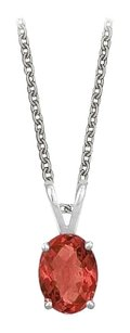 LoveBrightJewelry Oval Shaped Created Ruby Pendant Necklace in Sterling Silver. 1ct.tw.
