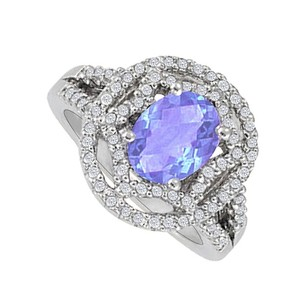 LoveBrightJewelry Oval Tanzanite And Cz Designer Engagement Ring For Her