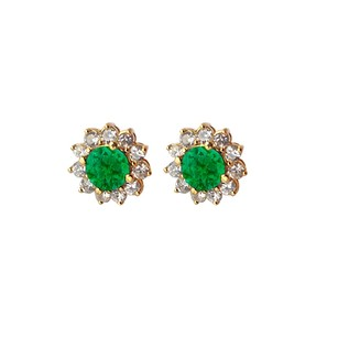 LoveBrightJewelry Pair of Emerald and CZ Earrings in Yellow Gold Vermeil