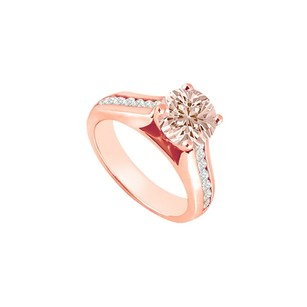 LoveBrightJewelry Pastel Pink Morganite With Cz Accents Engagement Ring 14k Rose Gold Top Design At Fab Price