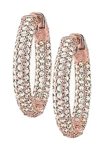 LoveBrightJewelry Pave Cubic Zirconia 25mm Round Inside Out Hoop Earrings in 14K Rose Gold over Sterling Silver