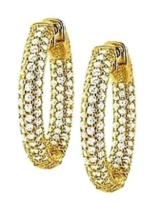 LoveBrightJewelry Pave Cubic Zirconia 25mm Round Inside Out Hoop Earrings in Yellow Rhodium over Sterling Silver