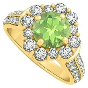LoveBrightJewelry Perfect Peridot and CZ Halo Engagement Ring 2.00 TGW