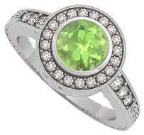 LoveBrightJewelry Peridot and CZ Engagement Ring in 925 Sterling Silver
