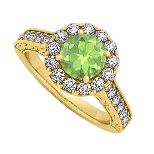 LoveBrightJewelry Peridot And Cz Halo Engagement Ring In 18k Yellow Gold Vermeil 1.50 Ct Tgw