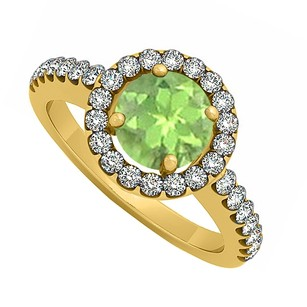 LoveBrightJewelry Peridot August Birthstone And Cubic Zirconia Halo Engagement Ring 18k Yellow Gold Vermeil