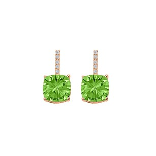 LoveBrightJewelry Peridot CZ Drop Style Earrings Push Back 14K Rose Gold